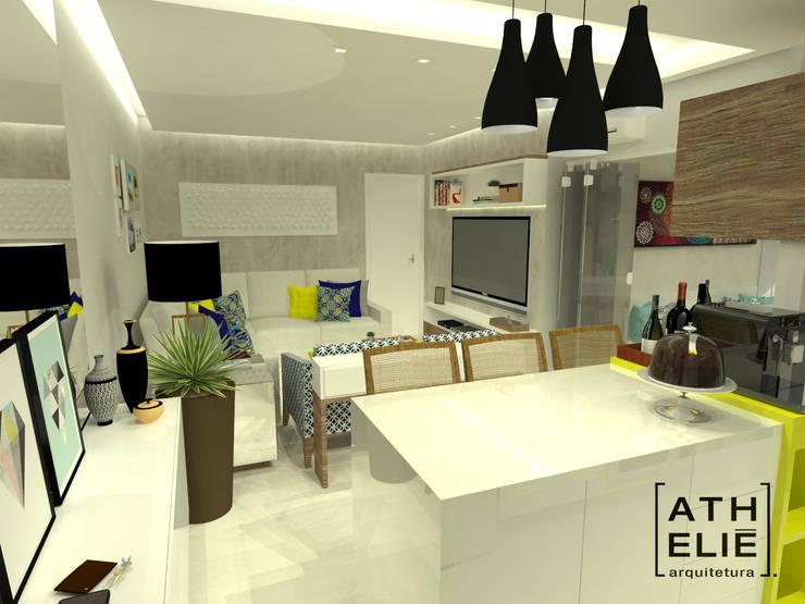 Sala de Estar integrada: Salas de estar  por ATHeliê Arquitetura