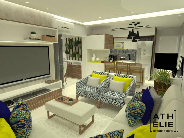 Sala de Estar integrada: Cozinhas  por ATHeliê Arquitetura