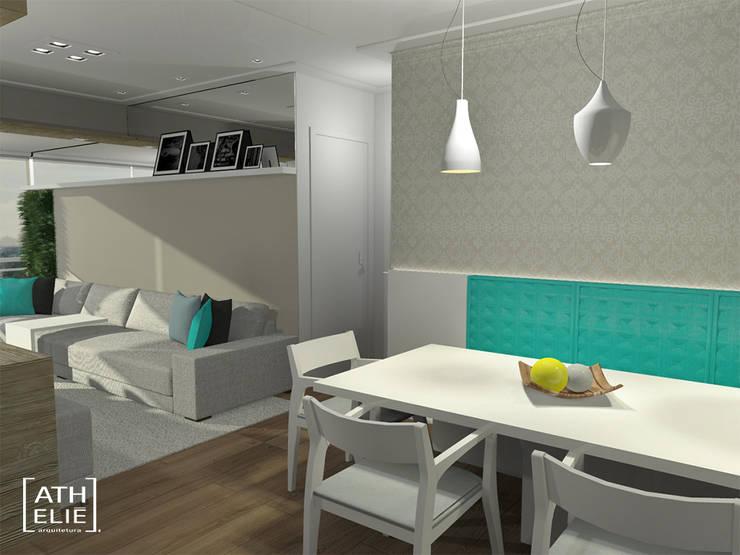 Sala de Estar e Jantar integradas: Salas de jantar  por ATHeliê Arquitetura,Moderno
