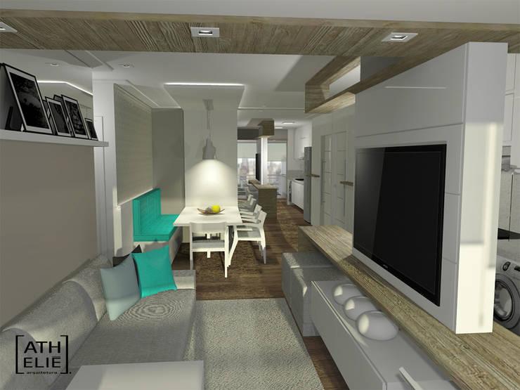 Sala de Estar e Jantar integradas: Salas de estar  por ATHeliê Arquitetura,Moderno