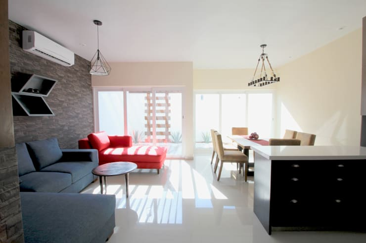 Projekty,  Salon zaprojektowane przez D.I. Pilar Román, Industrialny