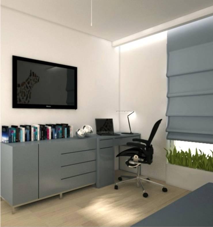 Apartament, pow. 95 m2, Waterlane: styl , w kategorii Domowe biuro i gabinet zaprojektowany przez 3miasto design,Eklektyczny