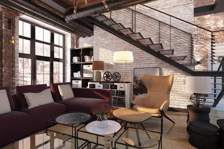 Salas / recibidores de estilo  por Александра Клямурис, Industrial