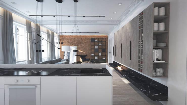 salon z wolno wiszącym kominkiem.: styl , w kategorii  zaprojektowany przez living box