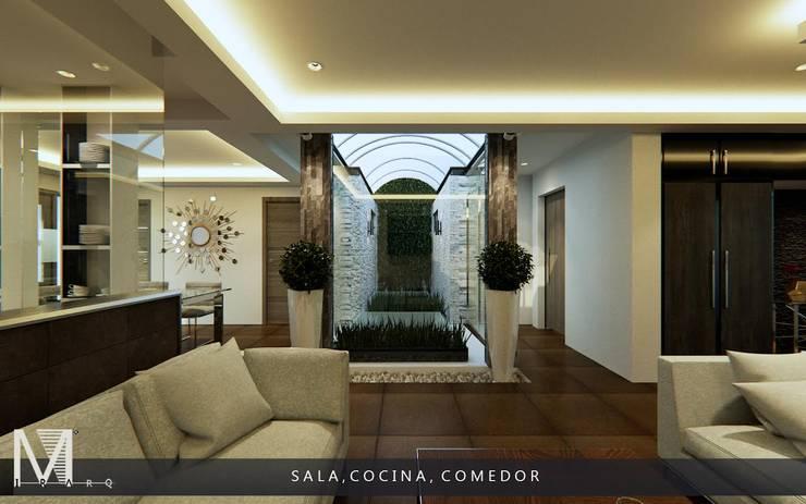 PROYECCIÓN 3D DE ESPACIO SALA COCINA Y COMEDOR.: Salas de estilo  por MIRARQ-CONSTRUCCIÓN