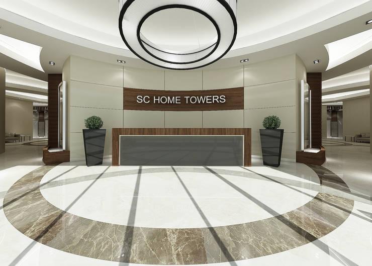 Treso İç Mimarlık – Gold Towers Konut:  tarz Koridor ve Hol