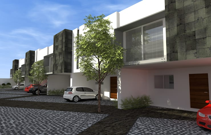 Residencial Escultores: Casas de estilo  por studioQUATTRO.mx