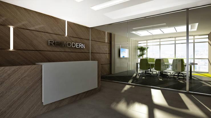 Treso İç Mimarlık – Gold Towers Ofis:  tarz Koridor ve Hol, Modern