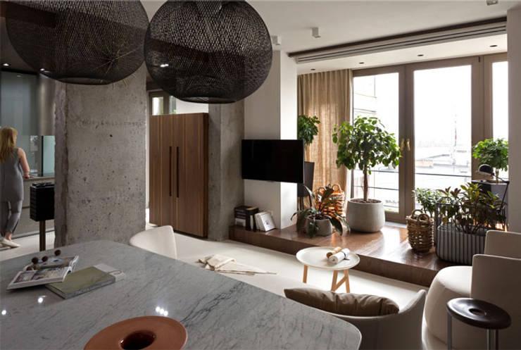 EKOLOGICZNY SALON Z KUCHNIĄ: styl , w kategorii Salon zaprojektowany przez malee,Rustykalny