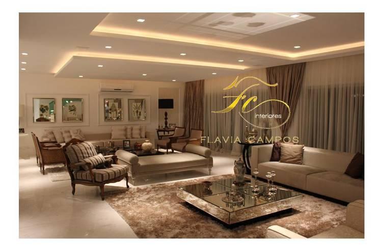 Projeto: Salas de estar  por FLAVIA CAMPOS ARQUITETURA E INTERIORES