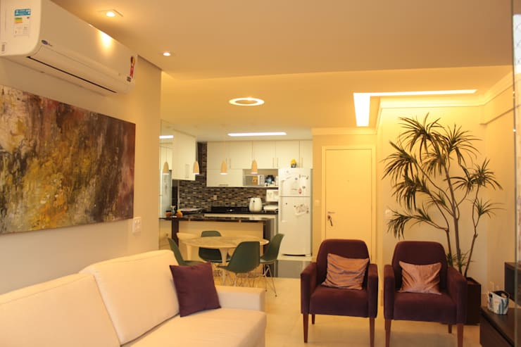 Projeto de interiores de apartamento: Sala de jantar  por StudioM4 Arquitetura