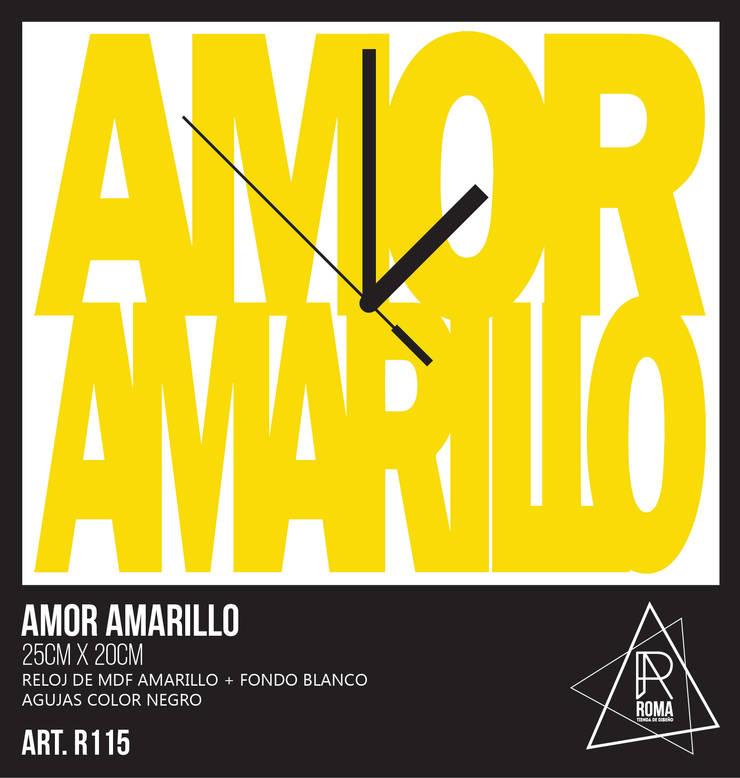 RELOJ AMOR AMARILLO   R115 de ROMA   tienda de diseño Escandinavo