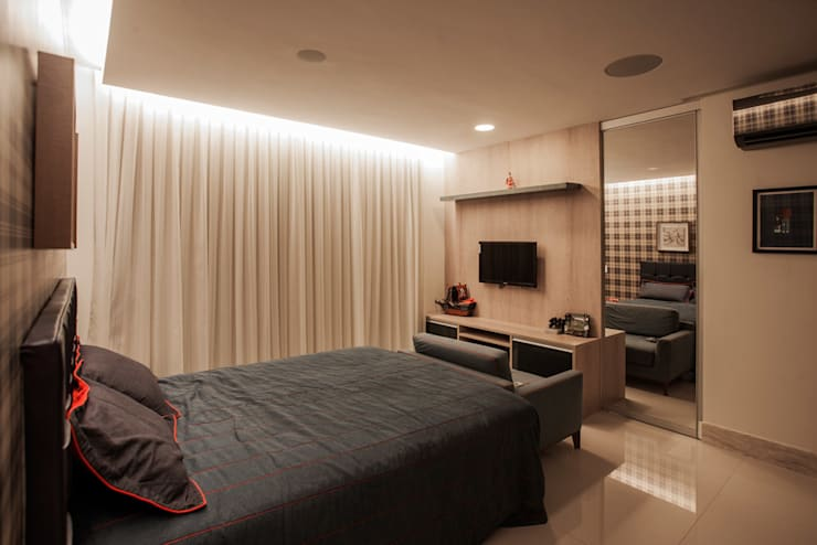 Projekty,  Sypialnia zaprojektowane przez Heloisa Titan Arquitetura