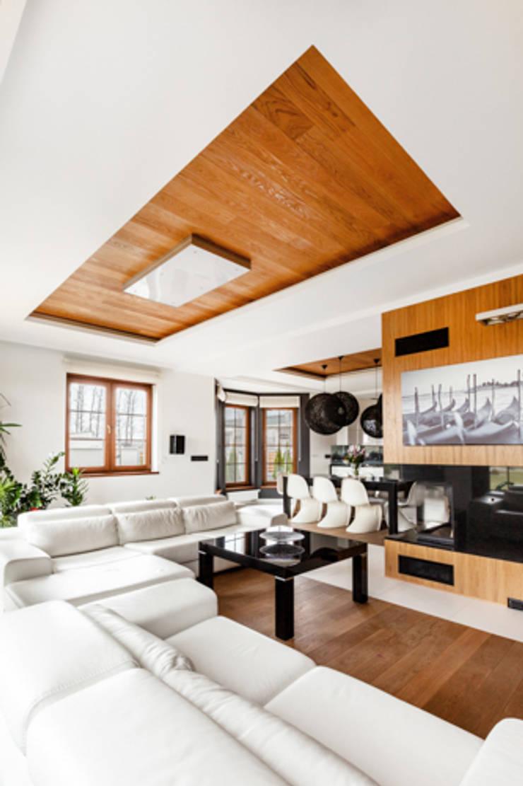 PROJEKT DOMU W POZNANIU: styl , w kategorii Salon zaprojektowany przez DECOCAFE