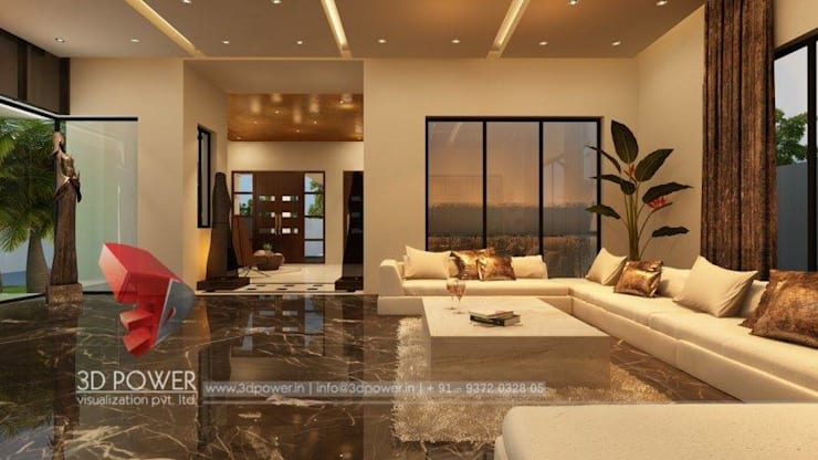 Luxurious Bungalow Interiors:  Living room by 3D Power Visualization Pvt. Ltd.,Modern