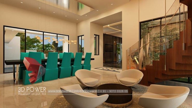 Luxurious Bungalow Interiors:  Dining room by 3D Power Visualization Pvt. Ltd.,Modern