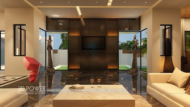 Luxurious Bungalow Interiors:  Corridor & hallway by 3D Power Visualization Pvt. Ltd.