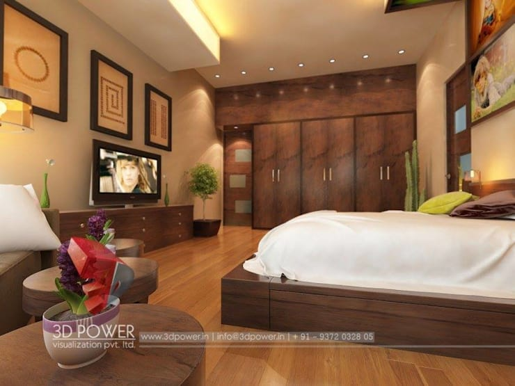 Lavish Bedroom Designs: modern Bedroom by 3D Power Visualization Pvt. Ltd.