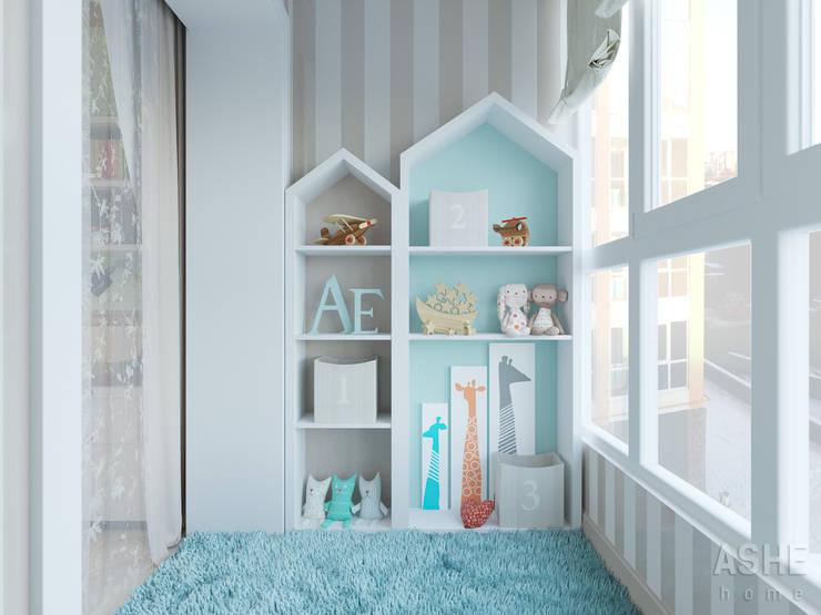 Вид на балкон смежный с детской: Детские комнаты в . Автор – Студия авторского дизайна ASHE Home
