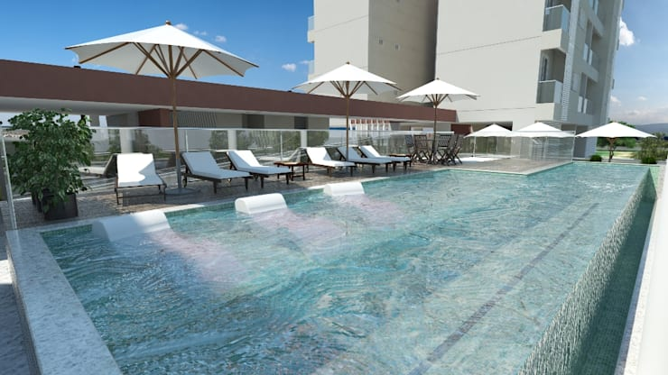Residencial Solariun: Piscinas  por Cavalheiro e Lopes Arquitetos Associados,