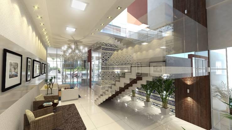 Residencial Solariun: Corredores e halls de entrada  por Cavalheiro e Lopes Arquitetos Associados,