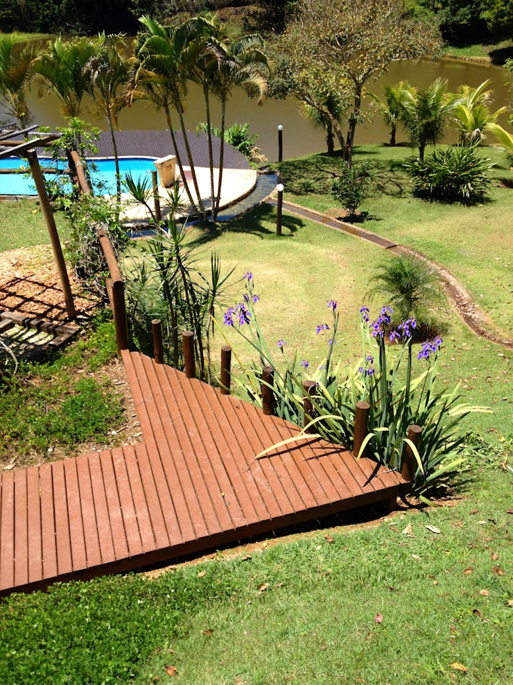 Casa de Campo - paisagismo: Jardins  por Elisabeth Berlato Arquitetura, Interiores e Paisagismo