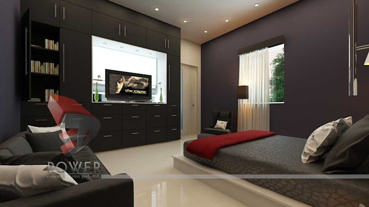 Stylish Bedroom Images:  Bedroom by 3D Power Visualization Pvt. Ltd.