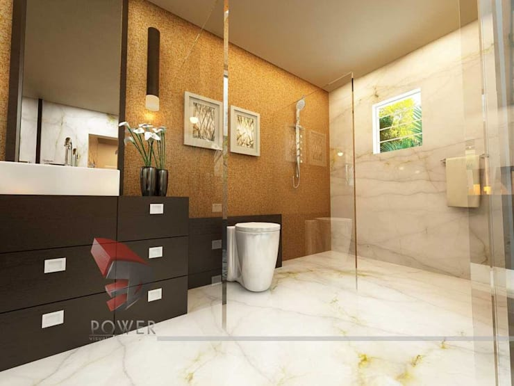 Dressing & Bathroom Interiors:  Bathroom by 3D Power Visualization Pvt. Ltd.,Modern