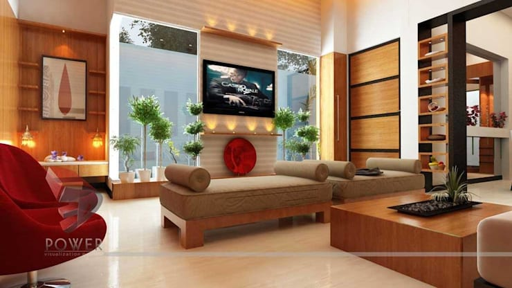 Beautiful Living Room Interiors: modern Living room by 3D Power Visualization Pvt. Ltd.