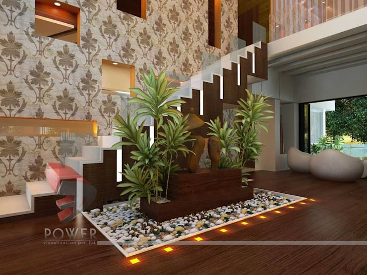 Beautiful Living Room Interiors:  Living room by 3D Power Visualization Pvt. Ltd.