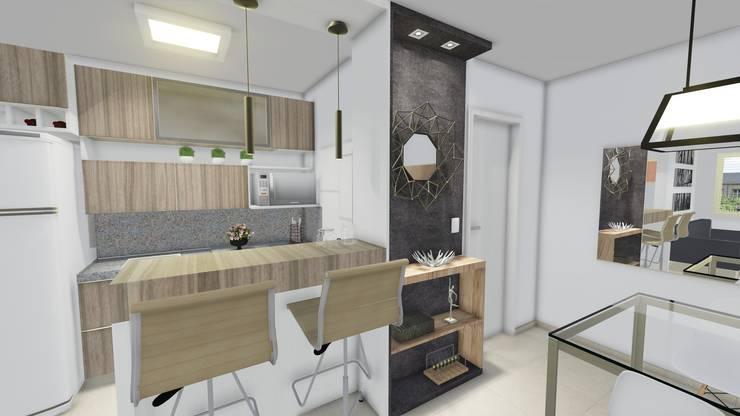Apartamento Jovem Homem: Cozinha  por Áurea Arquitetura e Design