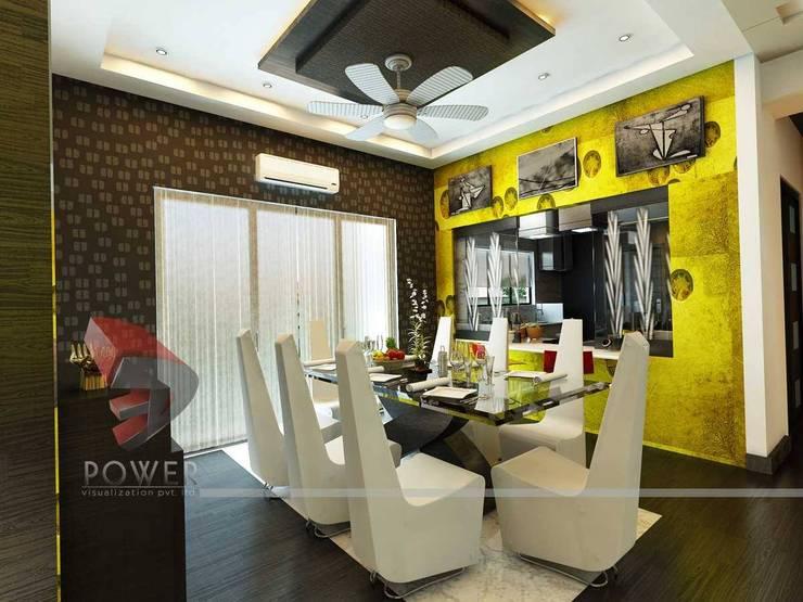 Modern Kitchen Elegant Dining:  Dining room by 3D Power Visualization Pvt. Ltd.,Modern