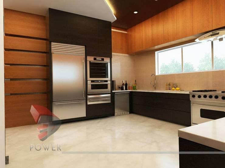Modern Kitchen Elegant Dining:  Kitchen by 3D Power Visualization Pvt. Ltd.,Modern