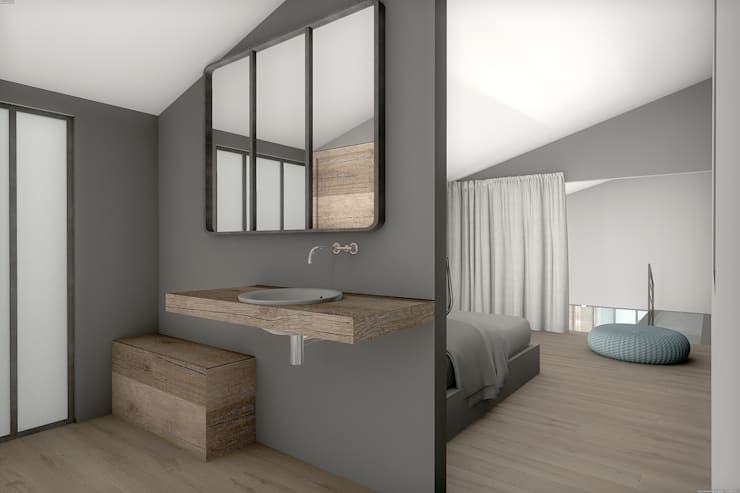 Corps de ferme réhabilité: Salle de bains de style  par réHome