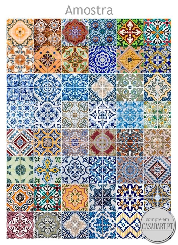 Azulejos Tradicionais Portugueses autocolantes (Pack de 48): Casa  por CASADART.PT