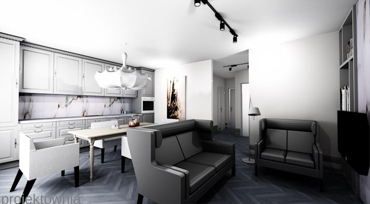 Apartament Chojny Park: styl , w kategorii Salon zaprojektowany przez Projektownia Marzena Dąbrowska,Nowoczesny