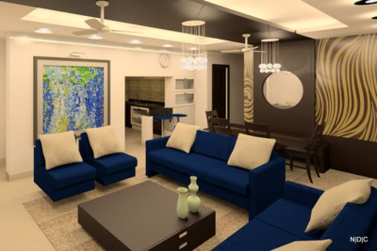 Interior Designs:  Living room by Newarch Design Consultants Pvt. Ltd,Modern