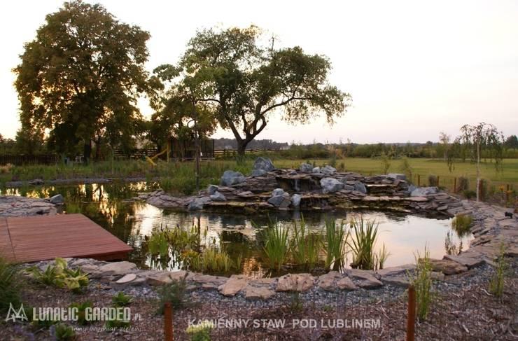 Oczko wodne z kaskadą: styl , w kategorii  zaprojektowany przez Lunatic Garden