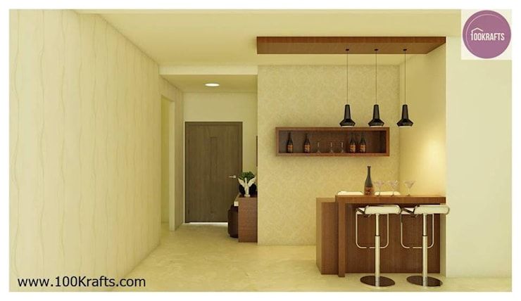 flat Interior Designs:  Living room by 100Krafts