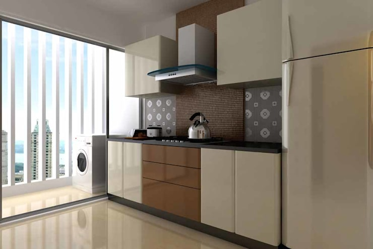 Interior designs:  Kitchen by Spacious Designs Architects  Pvt. Ltd.
