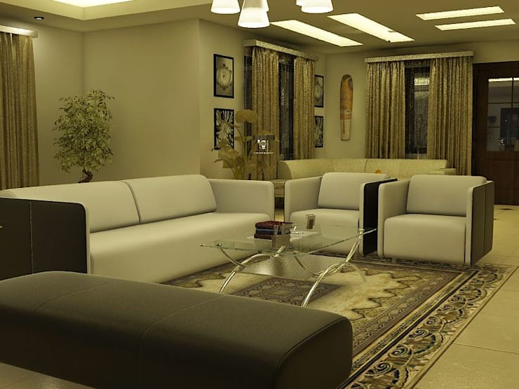 Interior Designs:  Living room by amit.joshi