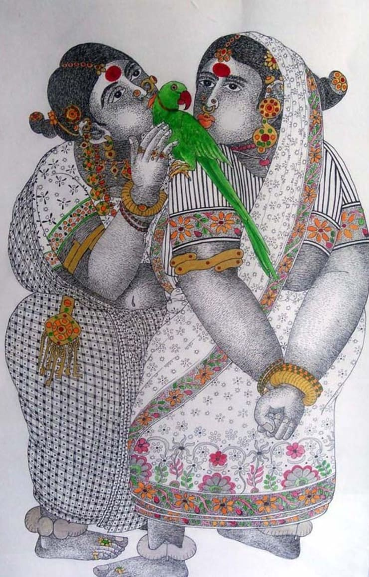 Women with Parrot 3:  Artwork by Indian Art Ideas