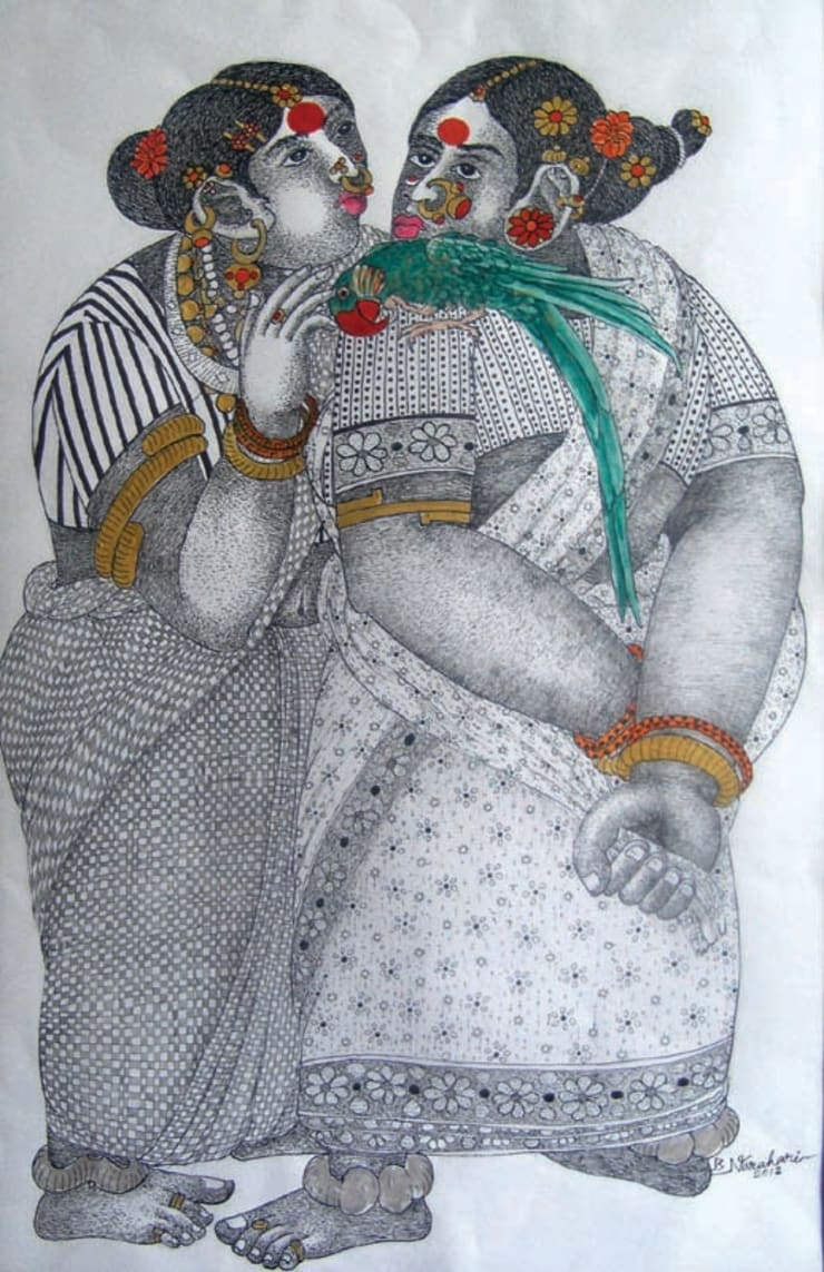Women with Parrot 5:  Artwork by Indian Art Ideas