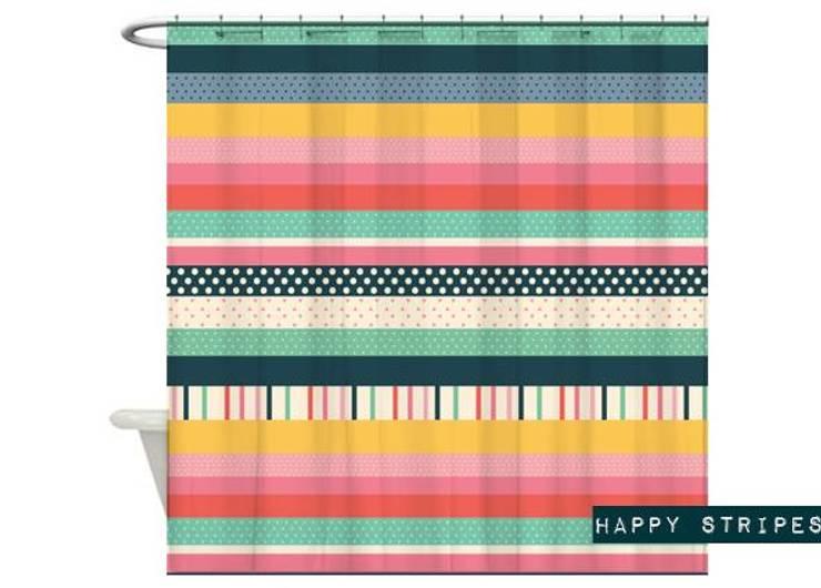 Cortina de baño Happy Stripes de Luc*At diseños Clásico