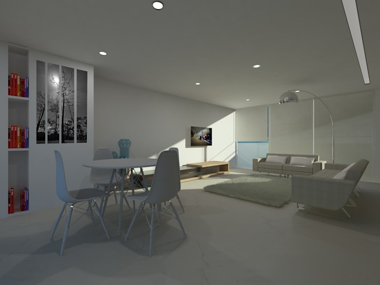 LIVING ROOM: Salas de estar  por Minimal-Line