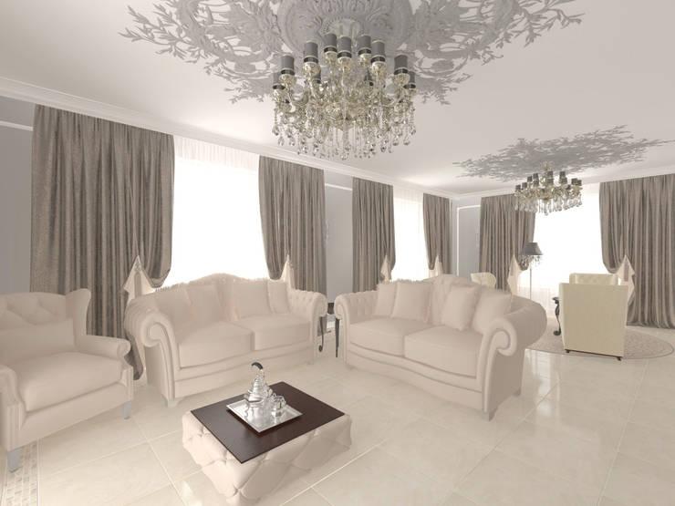 Дизайн первого этажа ИЖД: Гостиная в . Автор – Андреева Валентина