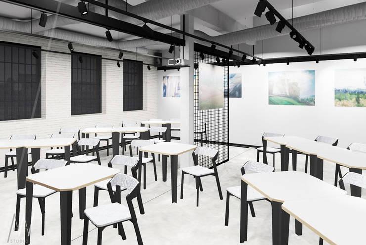 Restauracja z funkcjami kulturotwórczymi w zabytkowej hali obrabiarek Piaseczyńskiej Koleji Wąskotorowej.  : styl , w kategorii Gastronomia zaprojektowany przez AAW studio