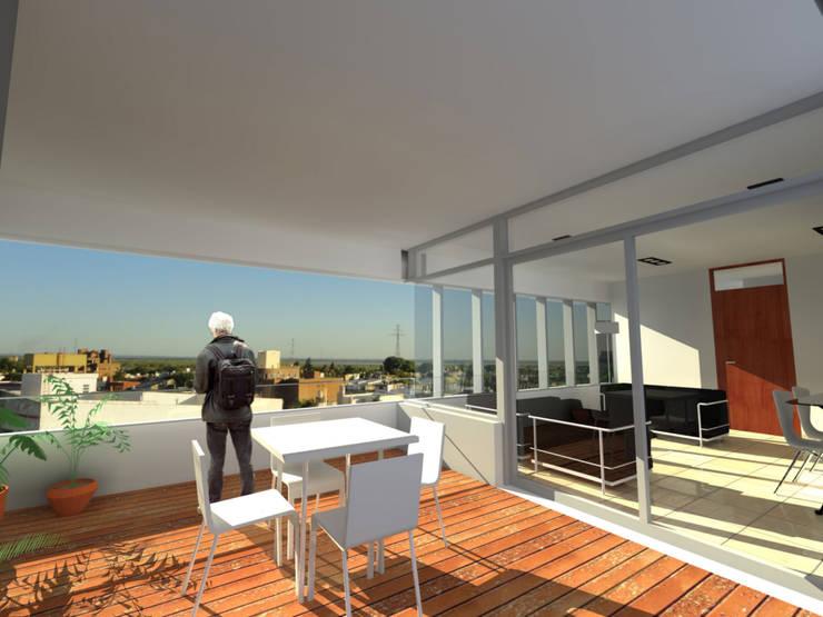 Vivienda colectiva: Salas multimedia de estilo  por VHA Arquitectura