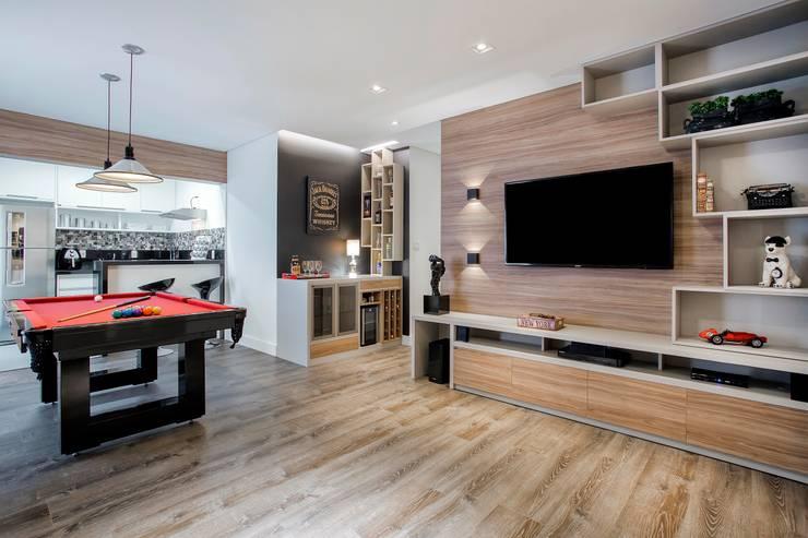 Apto. 64m²: Salas de estar  por Andressa Saavedra Projetos e Detalhes