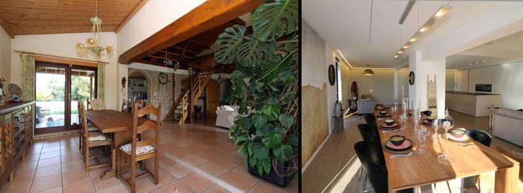 Fermette rustique se transforme en espace contemporain: Salle à manger de style de style Moderne par Sfeerontwerp | créateur d'atmosphère